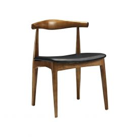 Simple Wood Combine With Leather Chair